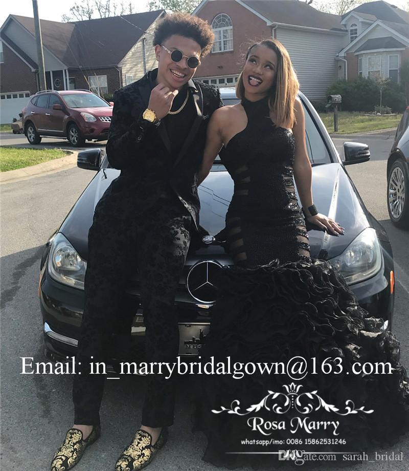 Sexy Black Girls Mermaid Prom Kleider 2K19 Plus Size Rüschen Organza Rock 2020 afrikanischen arabischen paar Fashion Pageant Abend Party Kleider
