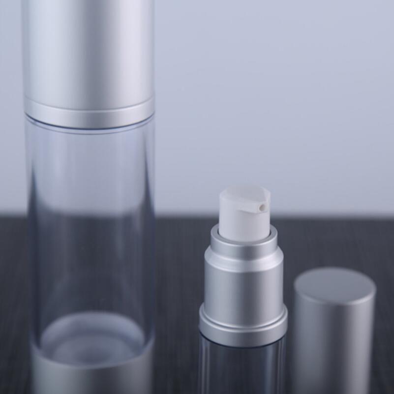 30 мл многоразового использования безвоздушного лосьон насос бутылка с серебряным насосом, алюминий над крышкой вакуумные косметические контейнеры LX2267