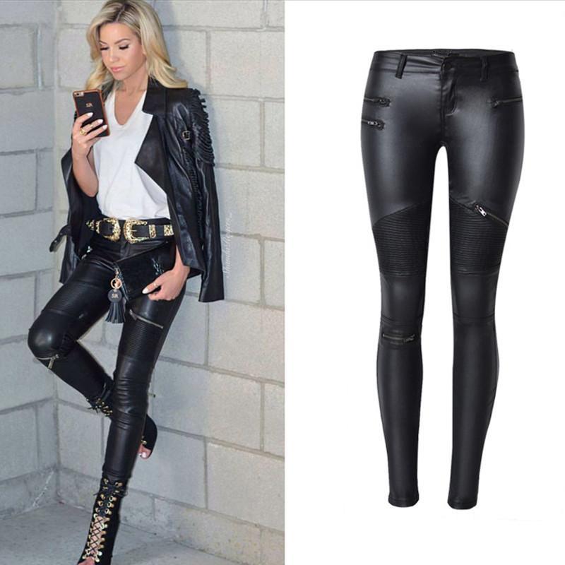 Women S Black Coated Jeans Skinny Stretch Low Waist Pants Motorcycle Biker  Jeans Multi Zipper Punk Faux PU Leather Pencil Pants Canada 2019 From  Aimea 854e7babb6