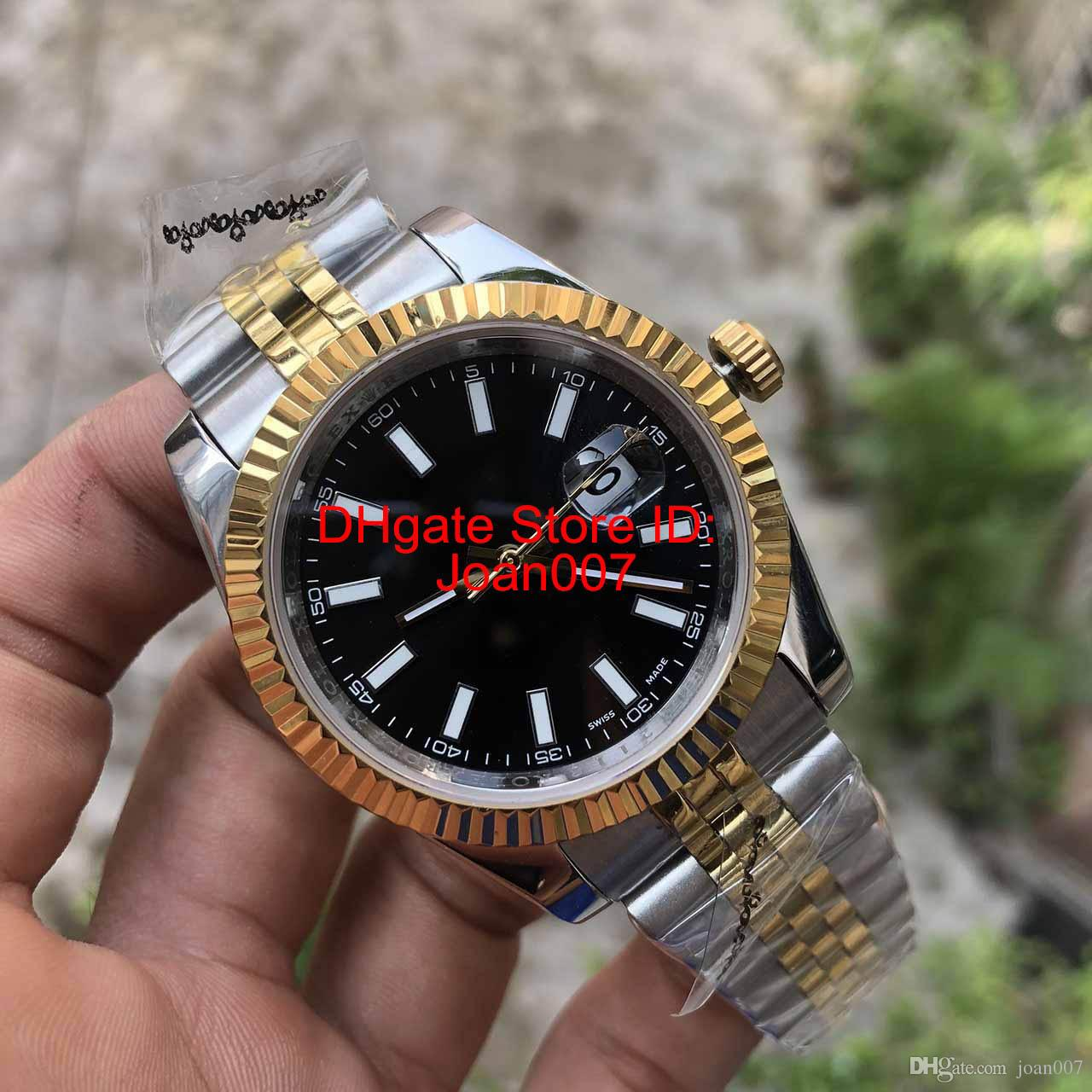 Luxury Watch Mens Automatic 2813 Movement Fluted Bezel Black Dial