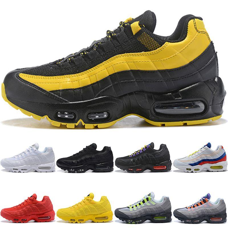 reputable site 43472 7563d Acheter Nike Air Max 95 Airmax 95 Hommes Femmes Chaussures De Course  Fréquence Triple Noir Blanc SE Jaune ERDL Fête OG Neon Grape Pas Cher Hommes  Courir ...