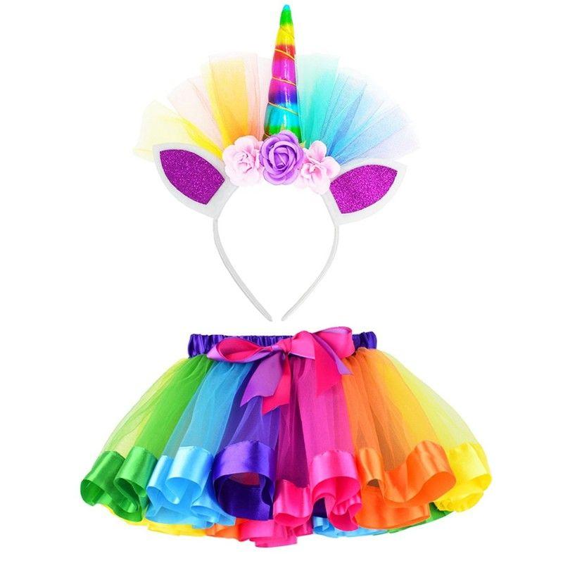 3cd32db99642c New Kid Baby Girls Rainbow Tutu Skirt Unicorn Headband 2Pcs Photo Prop  Costume Outfits Party Shows Perform Skirt 1-8T