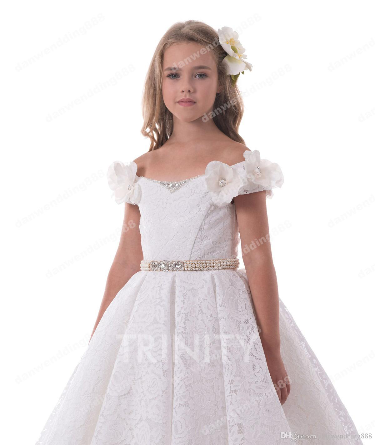Beauty White Lace Scoop Sash Flower Girl Dresses Princess Dresses Girl's Pageant Dresses Custom Made Size 2-6 8 10 12 14 KF327240
