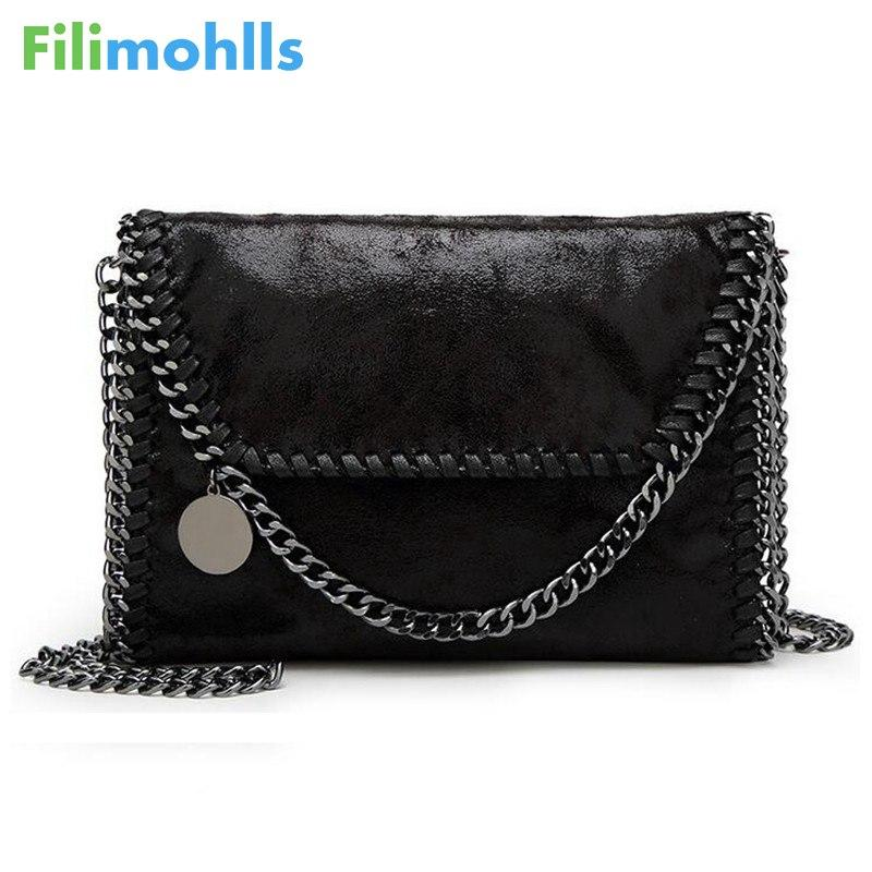 <b>2018 New</b> Women Message Bag <b>Pu</b> Fashion <b>Portable</b> 2 Chains Bag ...