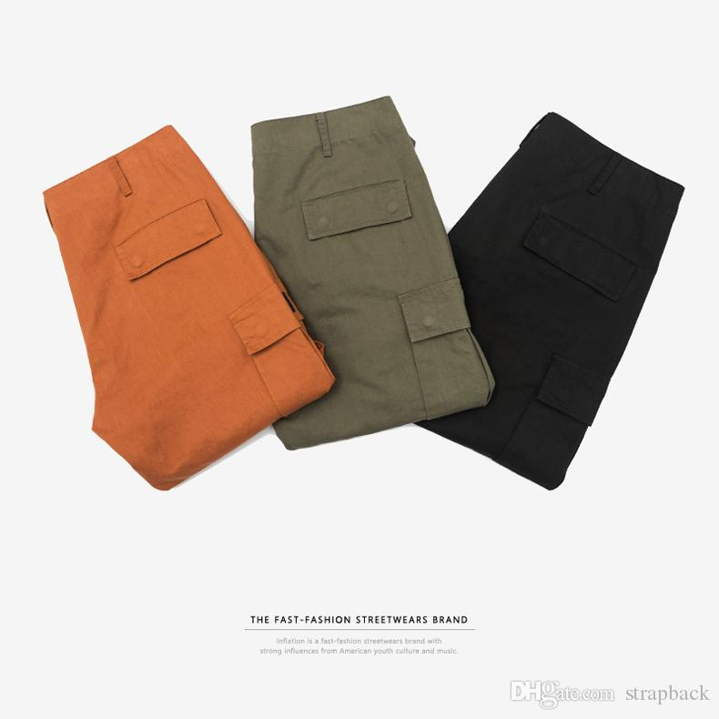 SNAP & STRAP Male Jogger Casual Plus Size Capris Cotton Trousers Multi Pocket Military Style Army Green Orange Men's hiphop Cargo Pants