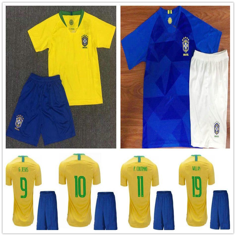 8abbe6f09 2018 Kids Soccer Jerseys 10 PELE G.JESUS P.COUTINHO RONALDINHO ...