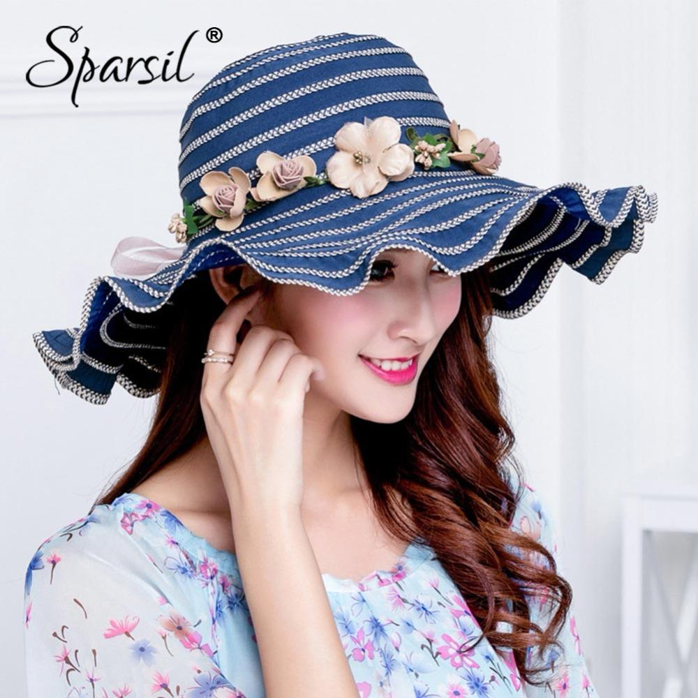 68e02b80f0c Sparsil Women Summer Sun Hat Cotton Bow Wide Brim Hats Female Elegant Caps  Beach Outdoor UV Protect Visors Lady Foldable SunHats Scala Hats Wholesale  Hats ...