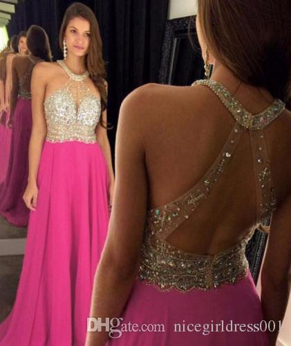 01eb201c1276 Sexy Peach A Line Evening Dresses 2018 New Halter Elegant Prom Gowns  Backless Floor Length Party Dress Custom Made Baby Blue Prom Dresses Classy  Prom ...