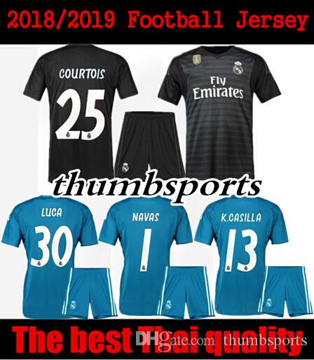 Top Thai Quality Jersey Kit 18 19 Courtois 25 Real Madrid Goalkeeper ... 1c98e864c