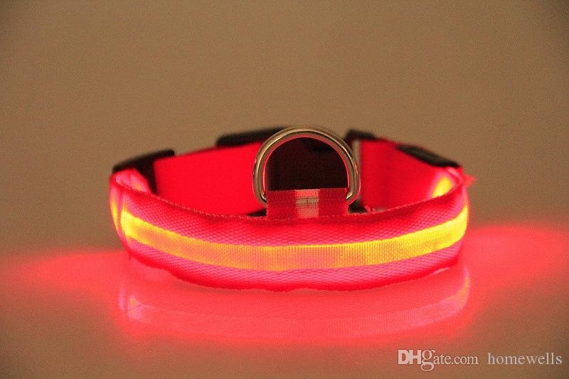 LED Nylon Dog Collar Dog Cat Harness Flashing Light UP Night Safety Pet Collars Flashing Satety Collar