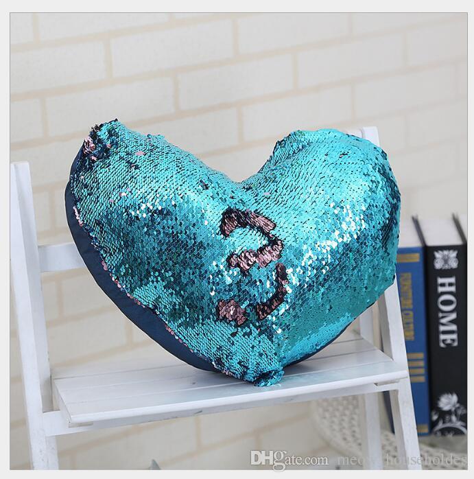 Writing Double Mermaid Sequins Set Pillow Case Hidden Zip Heart Shape Pillowcase Decorative Pillows Cover funda cojin 35x40cm