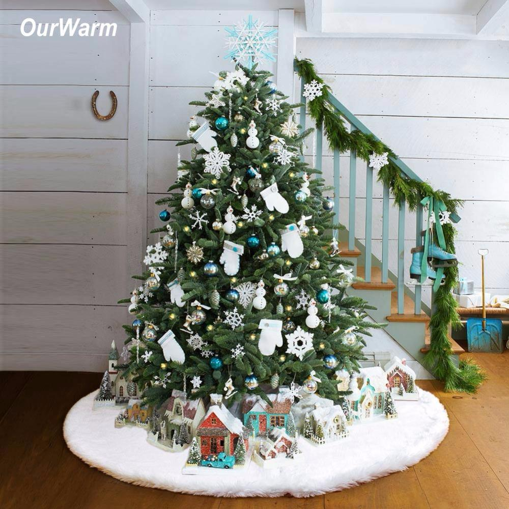 Ourwarm Luxury Faux Fur Christmas Tree Skirt 48 Inch New Year White