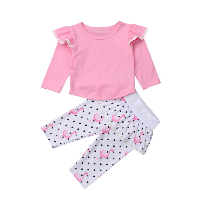 d276b682f 2019 0 3T Lovely Flamingo Print Autumn Clothes Fashion Newborn Kid Ruffles  Long Sleeve Top Elastic Waist Pants Baby Girl Outfits 2019 From Newestable,  ...