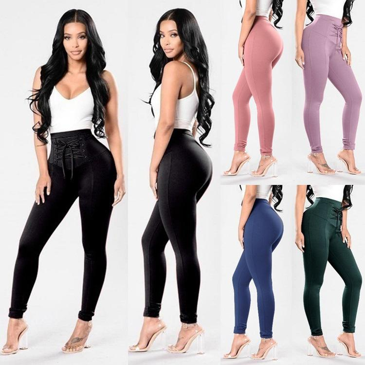 8e356fff141 2019 Sexy Women Front Lace Up Pants Oversize High Waist Criss Cross Skinny  Tight Pencil Pants Bandage Trousers Plus Size From Queenweddingdressing