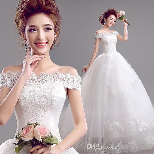 Korean Lace Up Ball Gown Wedding Dresses 2018 Plus Size Bridal Dress Princess Wedding Gown Real Photo