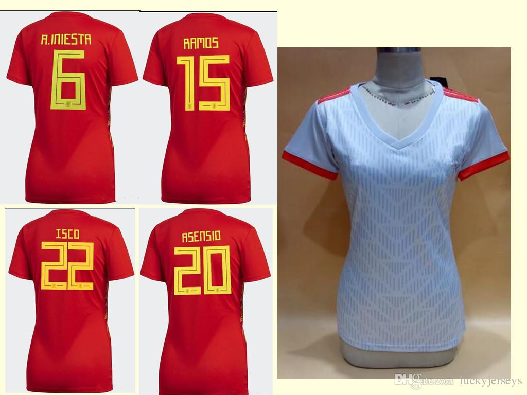 Women 2018 Spain Red White Jerseys World Cup Asensio MORATA RAMOS Female  Soccer Jerseys Spain Girls PIQUE SILVA FABREGAS Football Shirts UK 2019  From ... e8c6a1d73