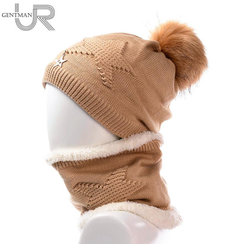 Newest Women Soft Winter Hat And Neck Collar Scarf Five Star Knitted Hat  Fashion Pomspoms Hats For Women Add Fur Warm Beanie Cap Knitted Hats Knit  Cap From ... 65d68bcbc0c