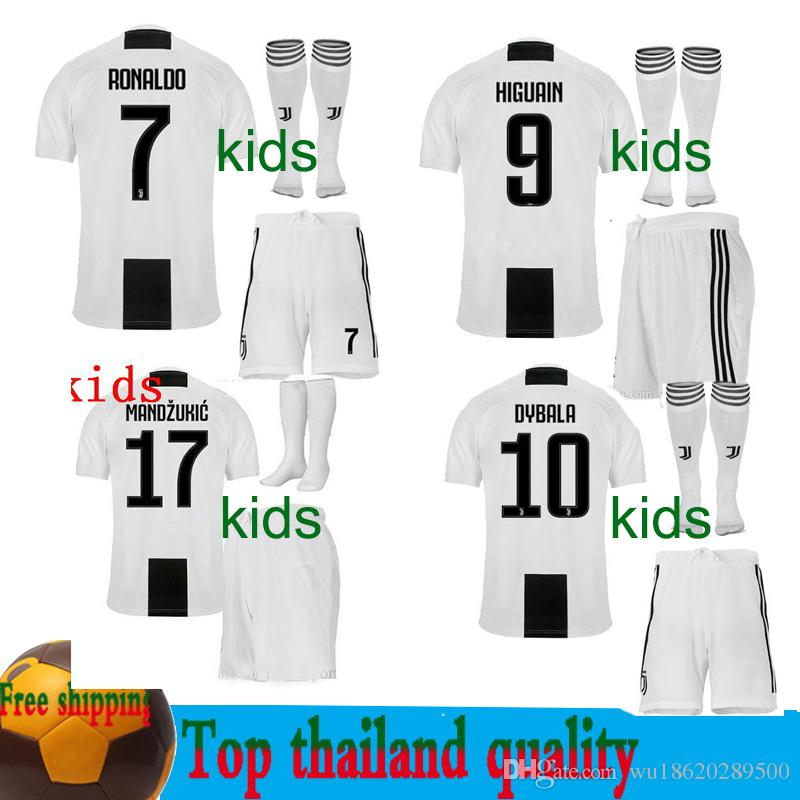 new arrival 19491 5a209 2018 Kids juventus RONALDO Dybala Soccer Jersey MAGLIA Calcio HIGUAIN  Matuidi 18 19 Costa Khedira MANDZUKIC youth boy Child football shirts