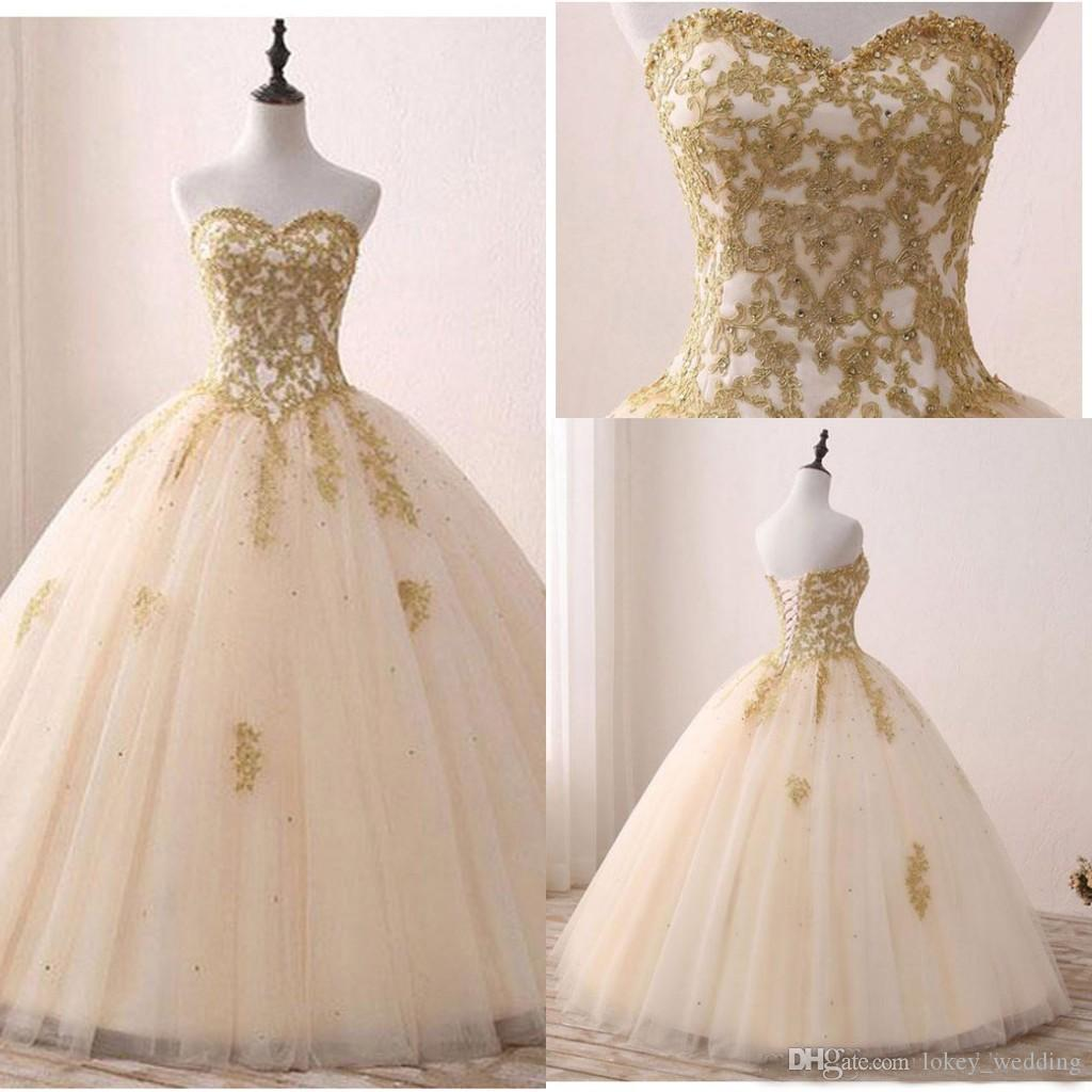 2bed56dd01 Elegant 2018 Quinceanera Dresses Sweetheart Sleeveless Appliques Gold Lace  Ball Gown Sweet 16 Years Princess Prom Dress Evening Gown Quinceanera  Dresses ...