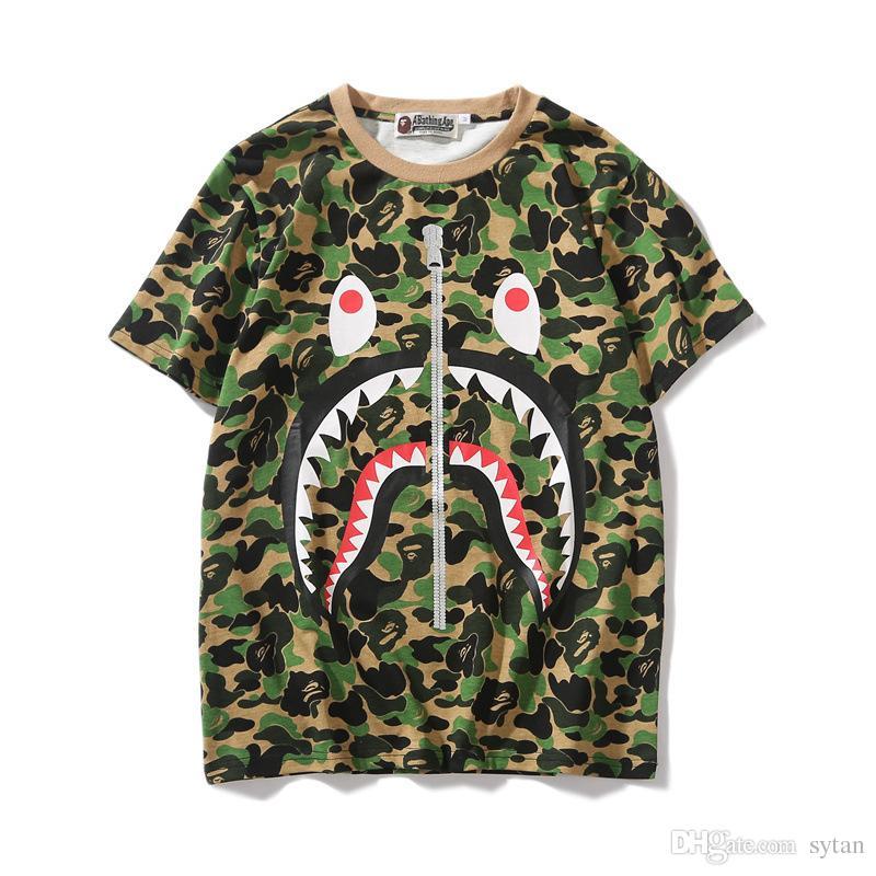 cb142be4 ... New Lover Green Pink Blue Camo Zipper Shark Print T Shirts Men Women