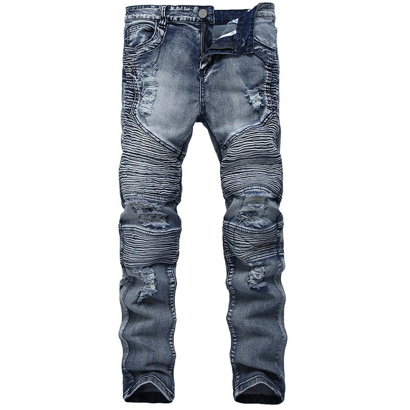 d9a525eb7bb83 2019 QMGOOD 2018 Men s Skinny Jeans Distressed Slim Elastic Jeans Denim  Biker Hip Hop Pants Washed Ripped Plus Size 28 42 From Rebecco