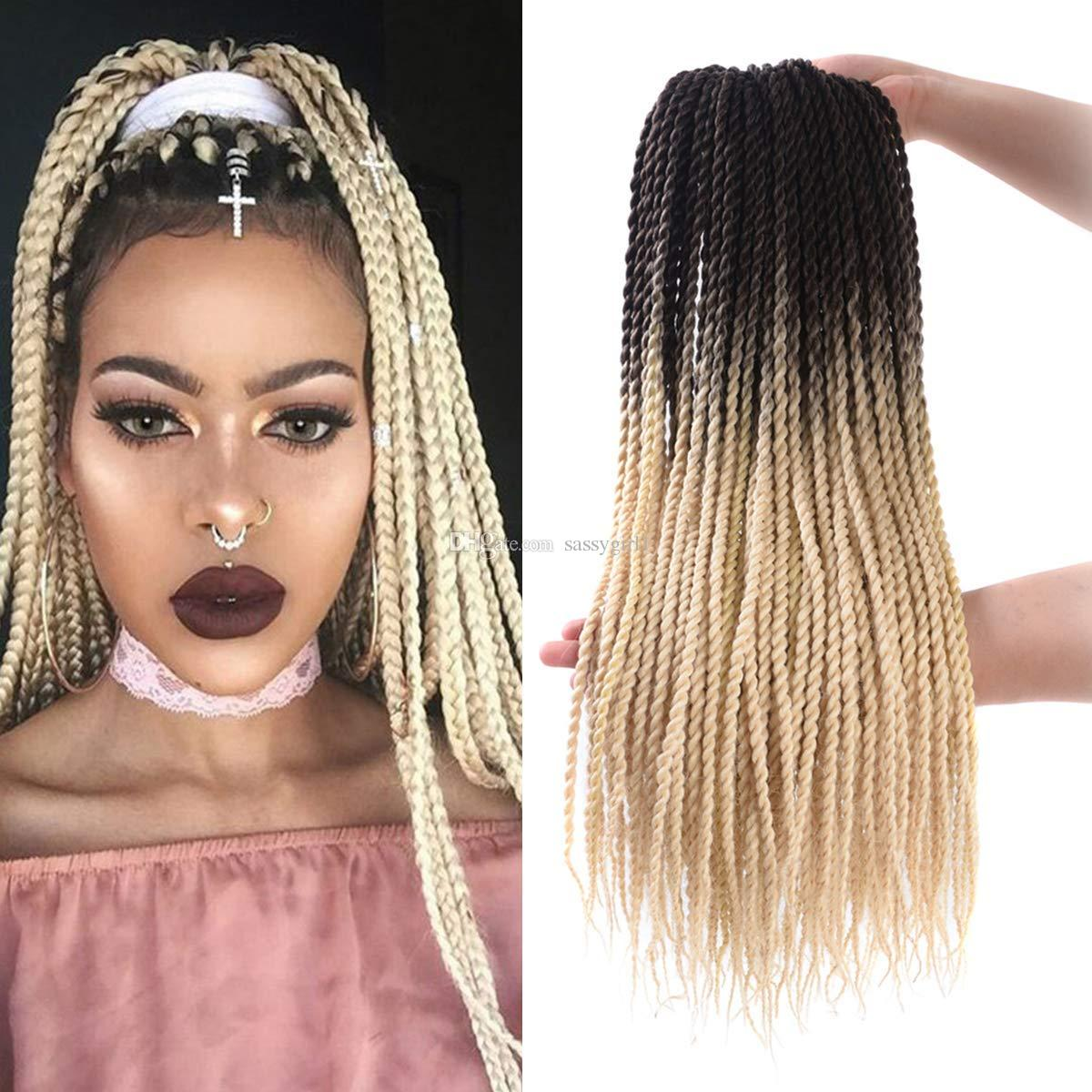 2019 Senegalese Twist Crochet Hair 24 Ombre Box Braids Crochet Hair