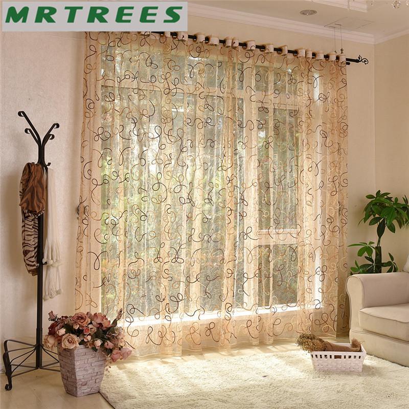 Moderne bestickte Gardinen Fenster Tüll Vorhänge für Wohnzimmer  Schlafzimmer Küche weiß Voile für Fenster Vorhänge