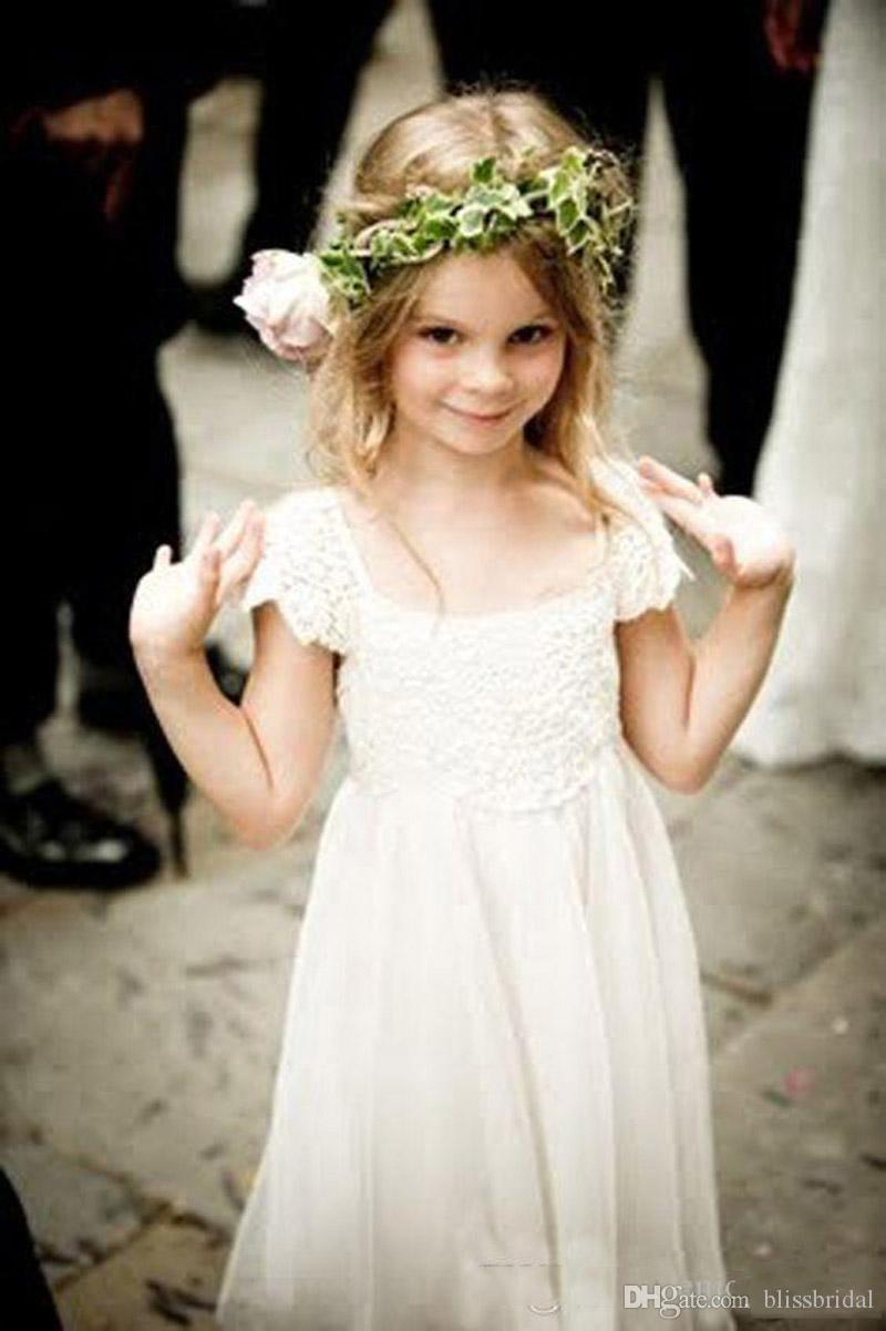 Boêmio Praia Mangas Flor Menina Vestidos Branco / Marfim Rendas Chiffon Meninas Crianças Vestidos Formais com Sash Primeira Comunhão