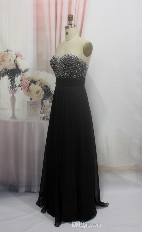 Schwarz Lange Chiffon Brautjungfer Kleid Schatz Perlen Prom Kleider Sleeveless Lange Formale Hochzeit Gast Party Kleider Trauzeugin Kleider