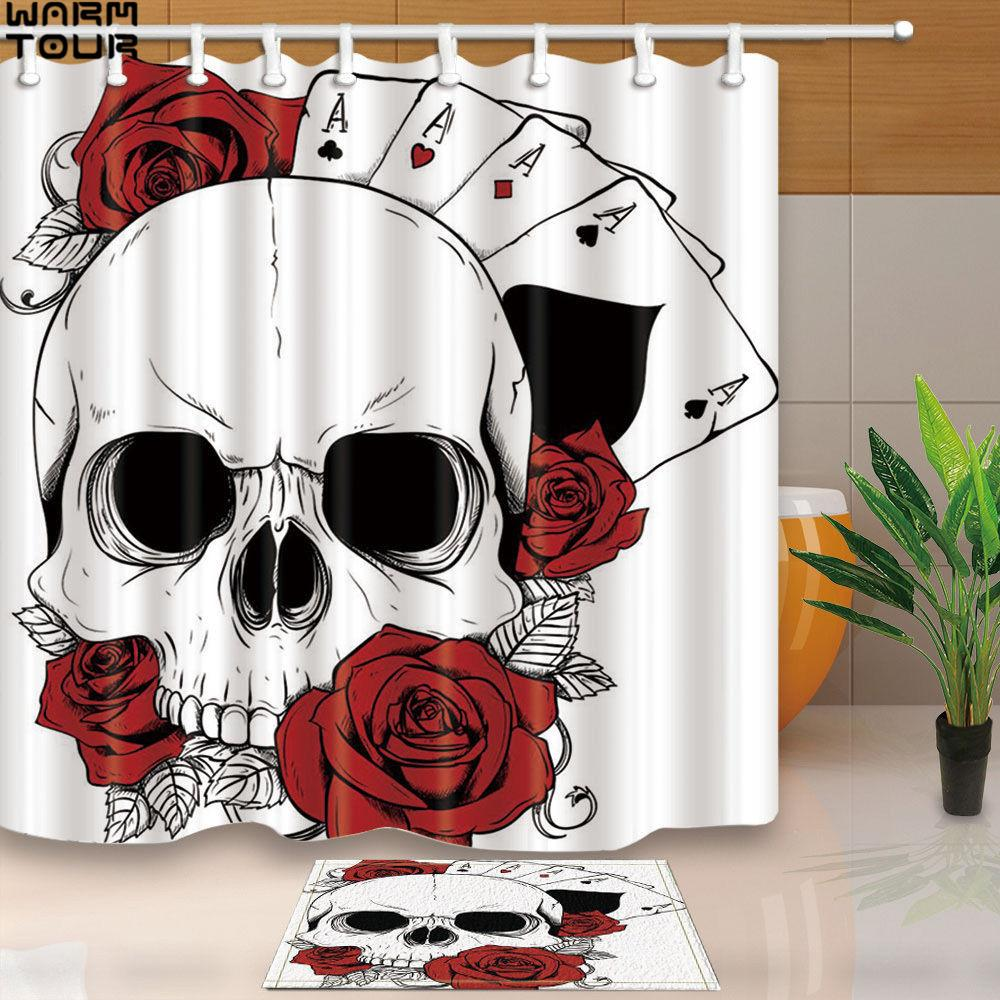 2018 Warm Tour Custom Skull And Poker Decorative Waterproof Fabric ...