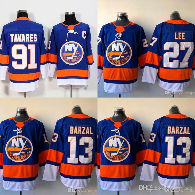 promo code b971e 23e56 Mens 13 Mathew Barzal Jersey New York Islanders 2018 27 Anders Lee 91 John  Tavares Jerseys Home Blue Cheap Stiched Ice Hockey jerseys
