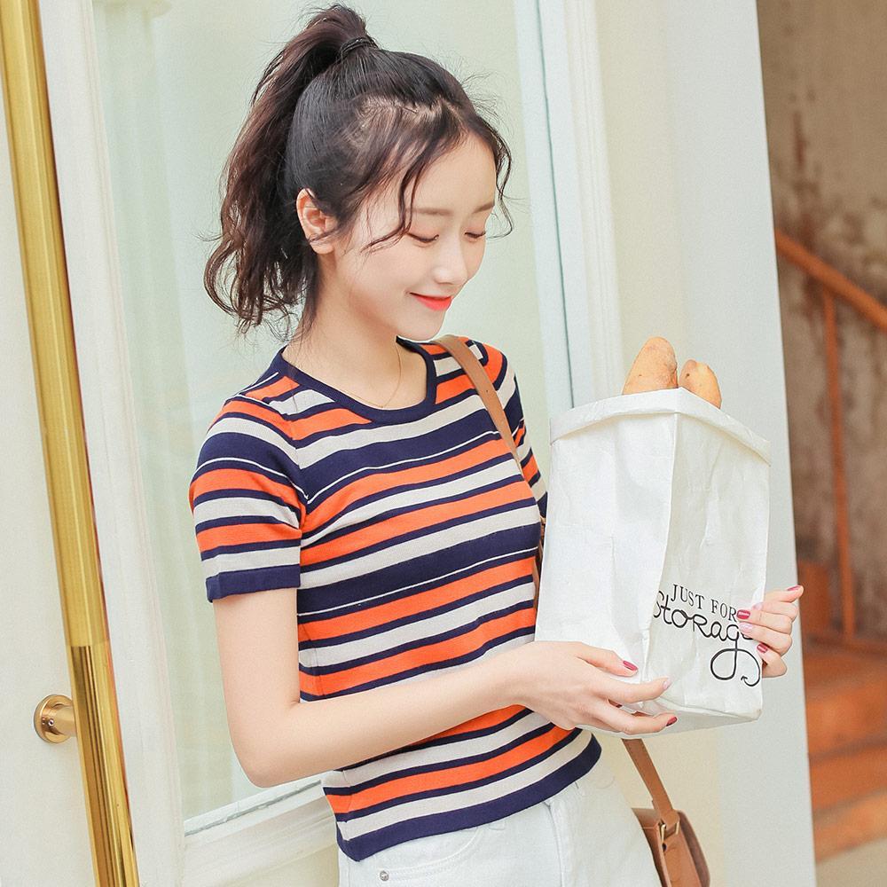 fbf1e0b6b Summer Vintage Striped Knitted T Shirt Women Korean Style Ulzzang Slim Crop  Top Casual Short Sleeve Tee Shirt Femme Streetwear Weird T Shirts T Shirt  Shop ...