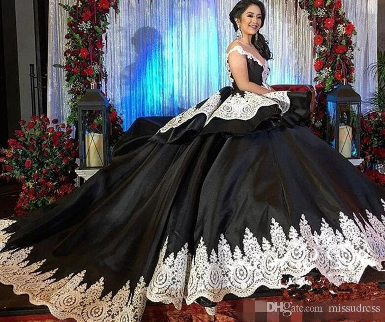 0dba4b790c5 Black Sweet 16 Masquerade Quinceanera Dresses Prom Party We White Lace  Arabic Vestidos 15 Anos Girl Birthday Prom Gowns Custom Quinceanera Dresses  Mcallen ...