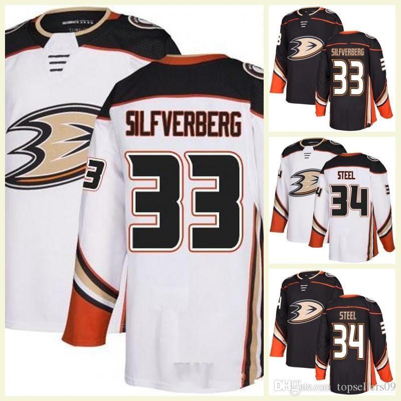 4993d87be New Custom Anaheim Ducks 35 Jean Sebastien Giguere 36 Gibson 33 Jakob  Silfverberg 34 Sam Steel Blank Hockey Jerseys White Away Home Black UK 2019  From ...
