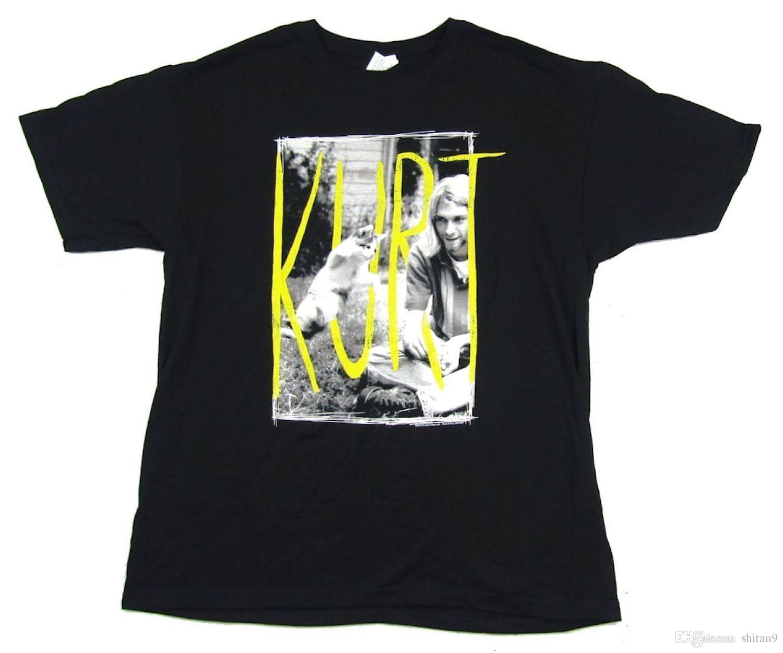 b17e5346 Nirvana Kitty Cat Kurt Cobain Black T Shirt New Official Band Merch ...