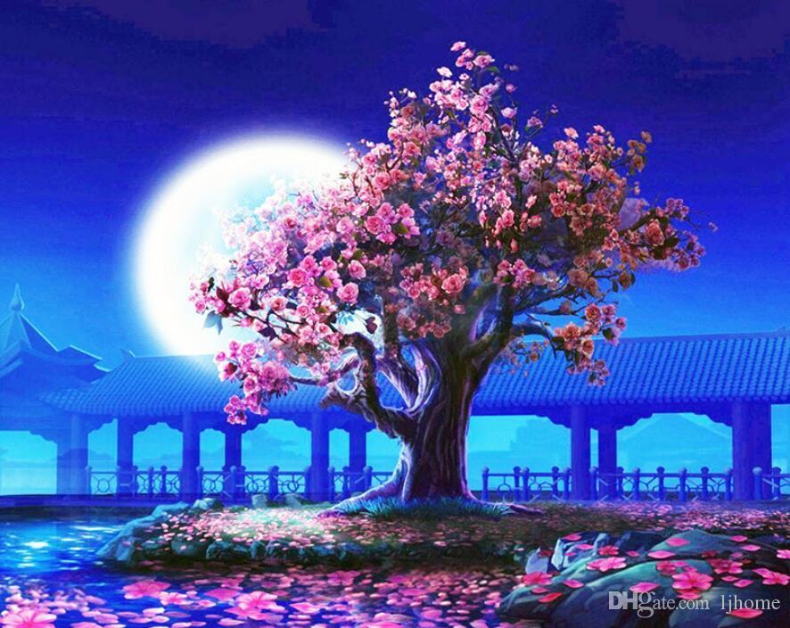 Satın Al 5d Diy Elmas Boyama Kiraz Ağacı Nakış Elmas çapraz Dikiş