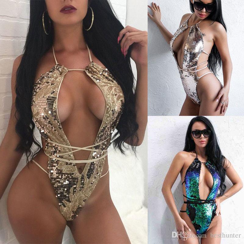 2018 Summer One Piece bikini Swimsuit Sexy Sequins Halter Swimwear Bathing Suit Women Swim Wear female Biquini Bandage Bodysuit
