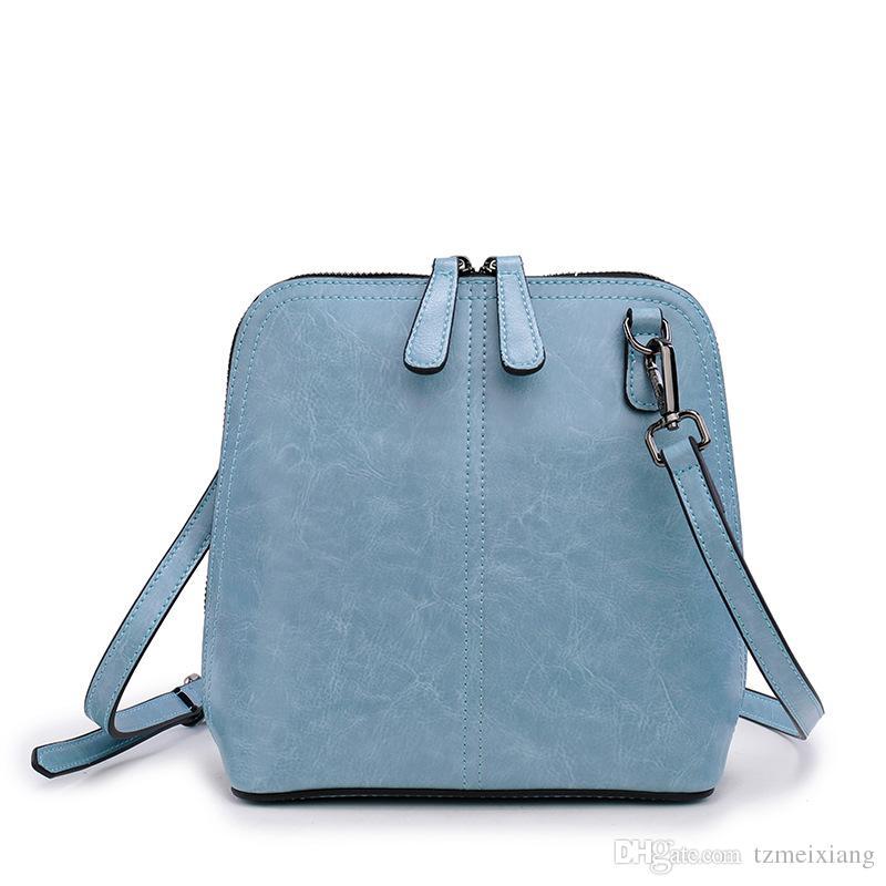 New double-color wax wax leather shell bag fashion wild diagonal calfskin shoulder bag