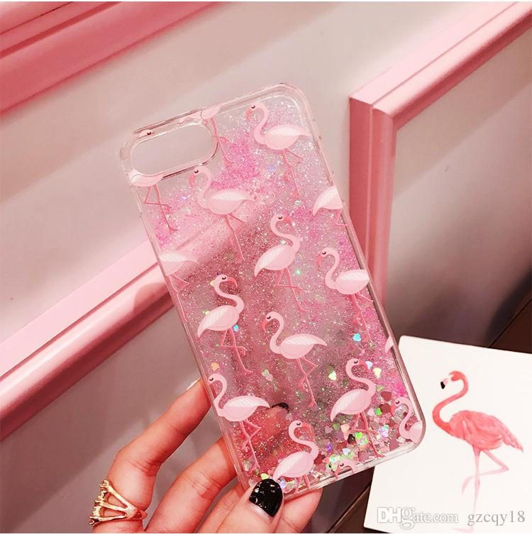 Quicksand Liquid Star Bling Flamingo Cute Bling Dynamic Glitter Case for iPhone X XS MAX XR 8 7 6 6S PLus 7plus 8plus Cover Phone Case