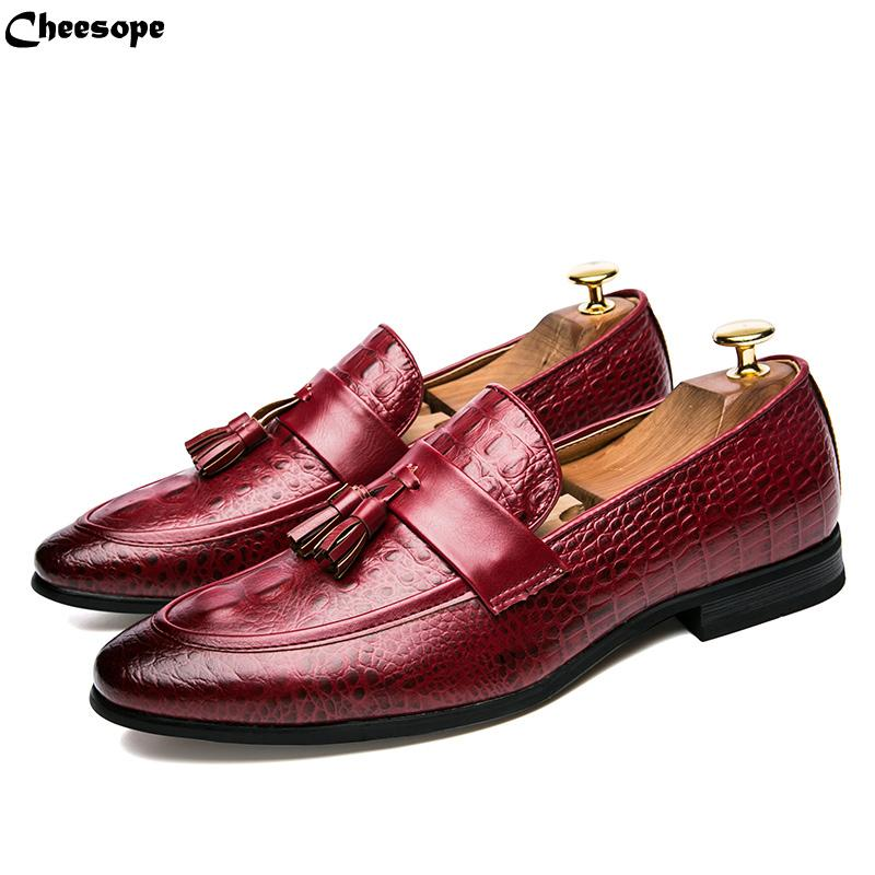 Shoes Formal Shoes Mens Tassel Shoes Leather Italian Formal Snake Fish Skin Dress Office Footwear Luxury Brand Fashion Elegant Oxford Shoes For Men Handsome Appearance