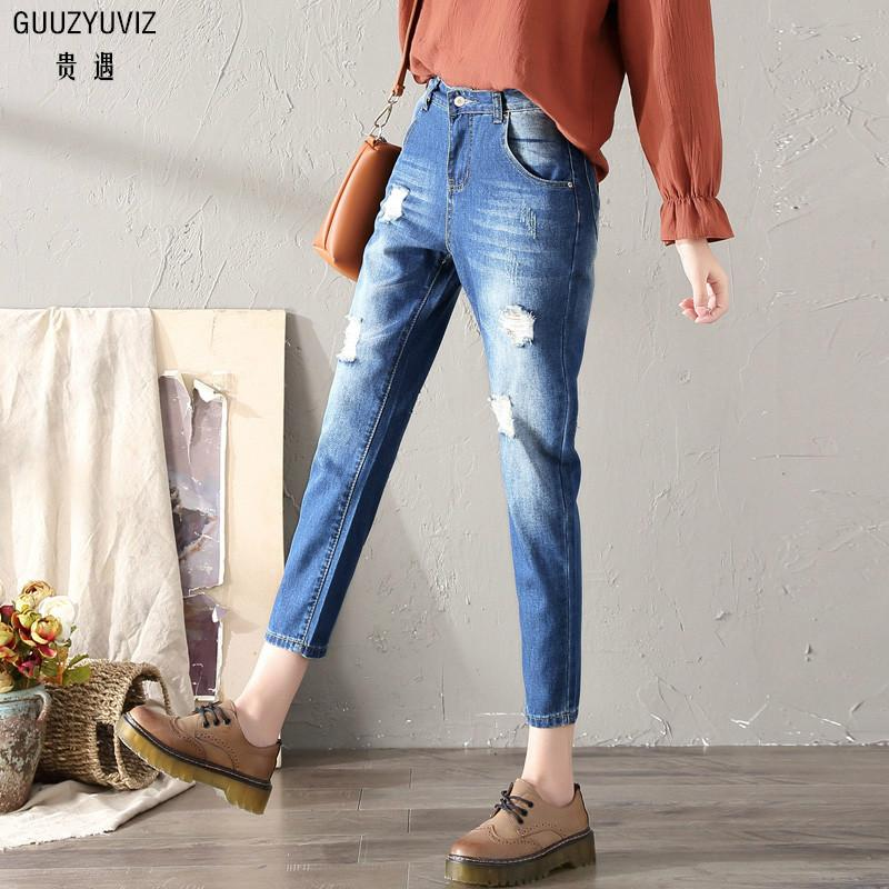 Jeans Bottoms Guuzyuviz Plus Size High Wiast Jeans Woman Vintage Autumn Winter Cotton Denim Washed Loose Patch Work Harem Pants