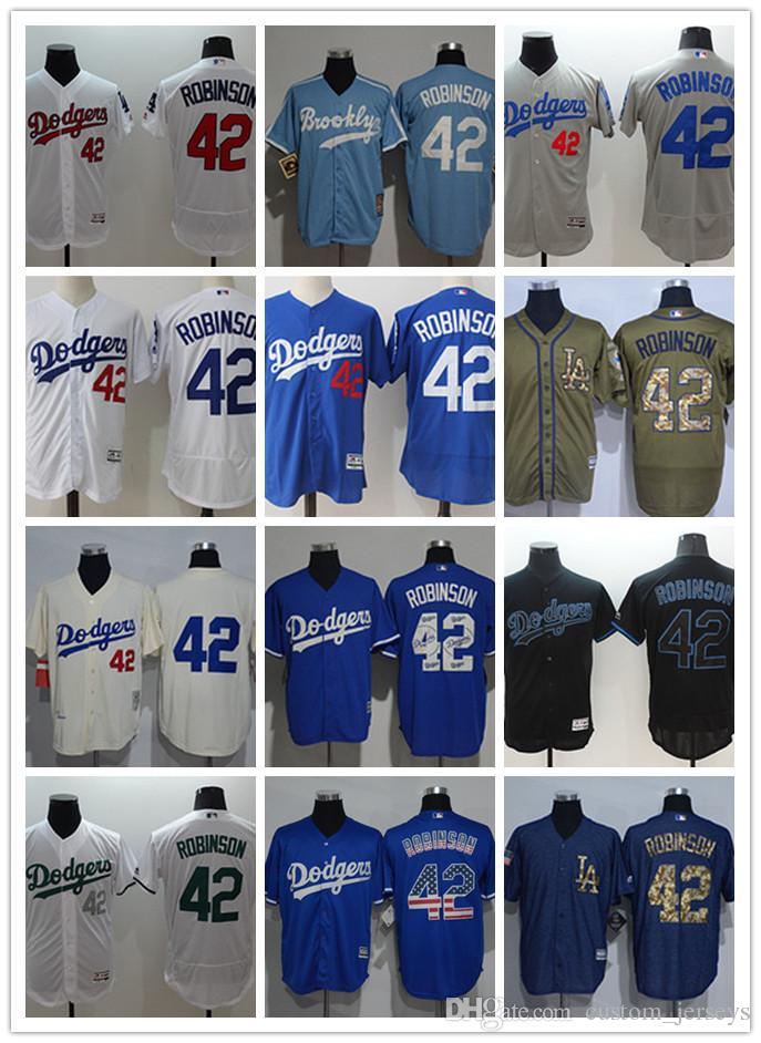 feb342789 Custom Men Women Youth LA Dodgers Jersey #42 Jackie Robinson Blue ...