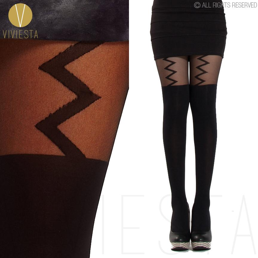 cc48c5edc7c LIGHTNING BOLT MOCK SUSPENDER TIGHTS - 120D + 30D Sexy Black Thigh High  Over The Knee Pantys Medias Hosiery Stockings Pantyhose