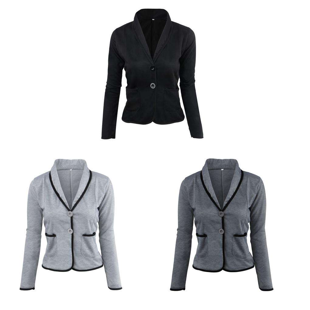 024b4bab70 Coat Women Cardigan Short Jacket Slim Coat Two Button Long Sleeve ...