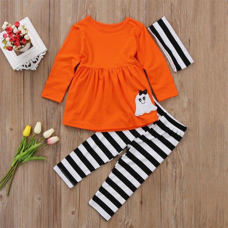 8770f629d 2019 Halloween Toddler Kids Baby Girls Costume Cartoon Cute Tops Dress   Striped  Leggings Pants   Headband Clothes Set From Bosiju