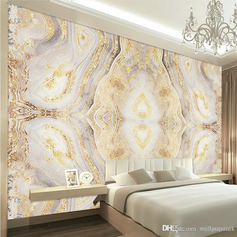 Vintage Non Woven 3d Luxury Golden Marble Pattern Murals Waterproof