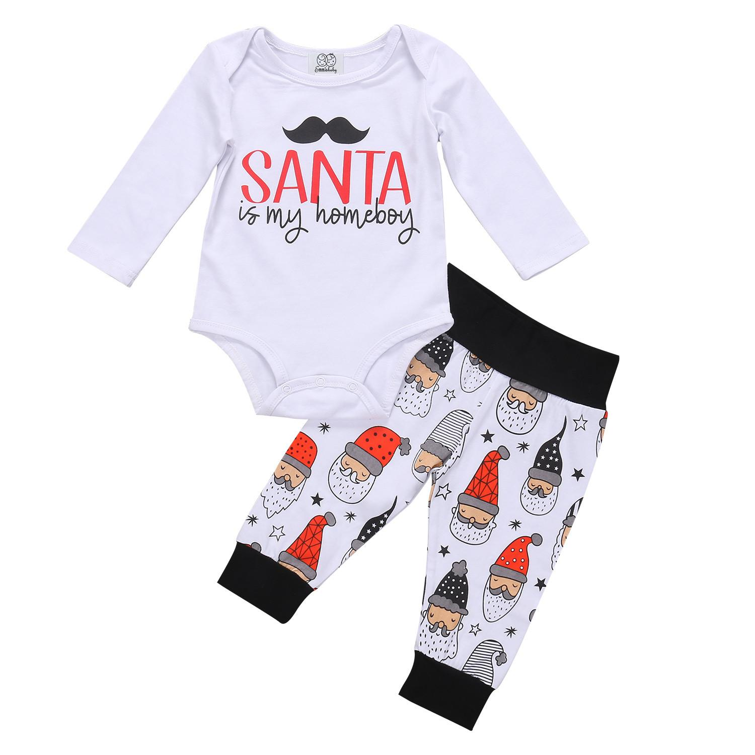 Newborn Baby Boys Clothes Set Christmas Bodysuit Santa Pants Autumn