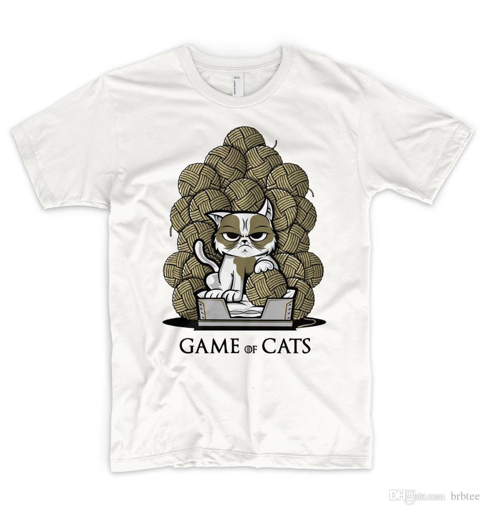 cd42042f Summer 2018 New Game Of Cats T Shirt Meow Geek Feline Funny Cat Kittens  Stark House Printed T Shirt Men T Shirt Casual Tops Tourist Shirts Of T  Shirt From ...