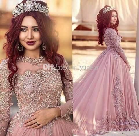 Nueva tripulación 2019 mujeres vestidos de novia una línea musulmán árabe de manga larga vestidos de novia Bling de encaje apliques de cristal más tamaño corte vestido de tren