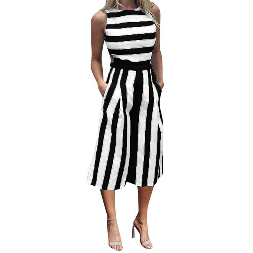 f5d0e8a14ef 2019 Women Stripe Sleeveless Playsuit Rompers Womens Jumpsuit Long Pants  Heyoungirl Clubwear Wide Leg Beach Long Jumpsuit Y814 30 From Odeletta